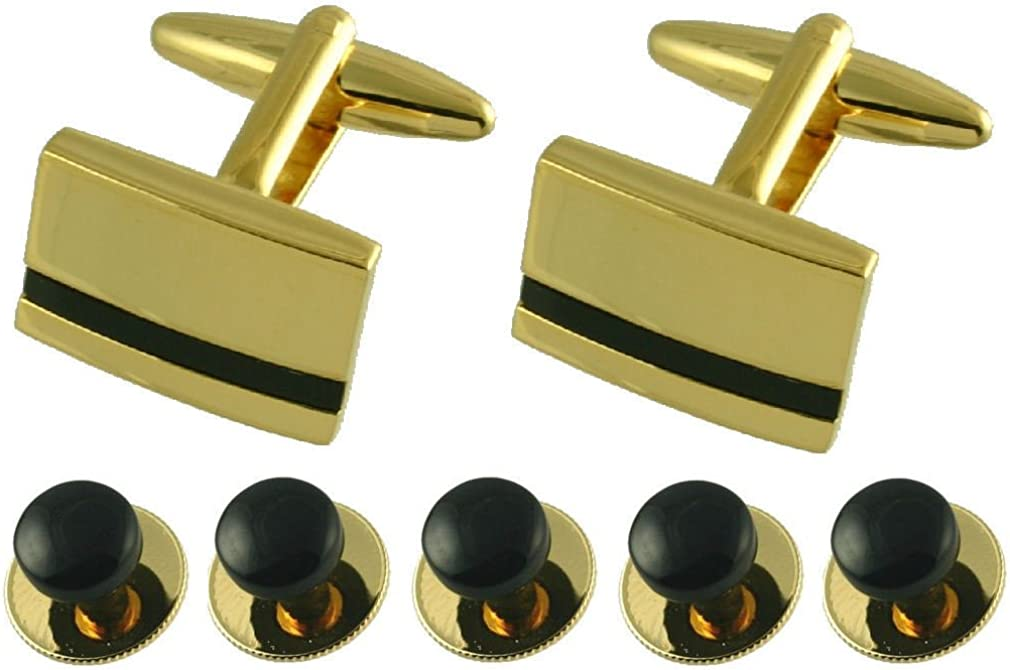 Select Gifts Dress Studs Black Onyx Gold-Tone Cufflinks Dinner Shirt Set