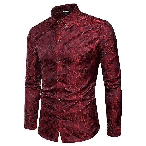 b175796c7 YIMANIE Mens Regular Fit Long Sleeve Shiny Silk Like Satin Dance Prom  Luxury Dress Shirt Camouflage
