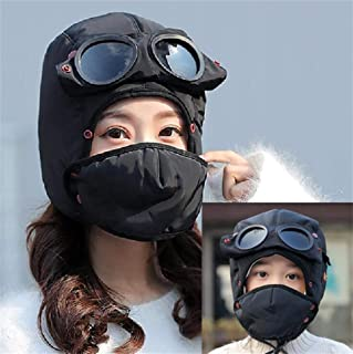 Unisex Warm Waterproof Trapper Hat with Ear Flap Detachable Face Mask Pilot Goggles Windproof Thermal Winter Hat for Hunting Skiing Hiking Russian Aviator Snow Hat Ushanka Hunting Hat-Fits Adults Kids