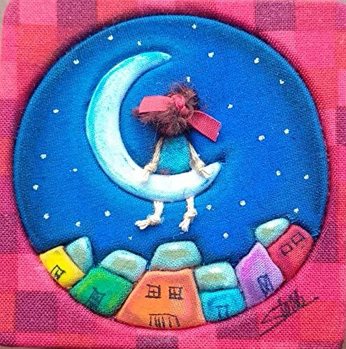 Stella Cuadro Forrado de Tela y Pintado a Mano con Pastel Luna Tamaño 7 x 7 cm. Listo para Colgar.Cuadros para salón, Cuadro Artesanal, Handmade,Cuadro para habitación, Cuadro Infantil