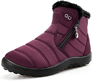 Womens Winter Snow Boots Warm Fur Lined Zipper Ankle Boots Outdoor Waterproof Short Booties Comfortable Walking Shoes