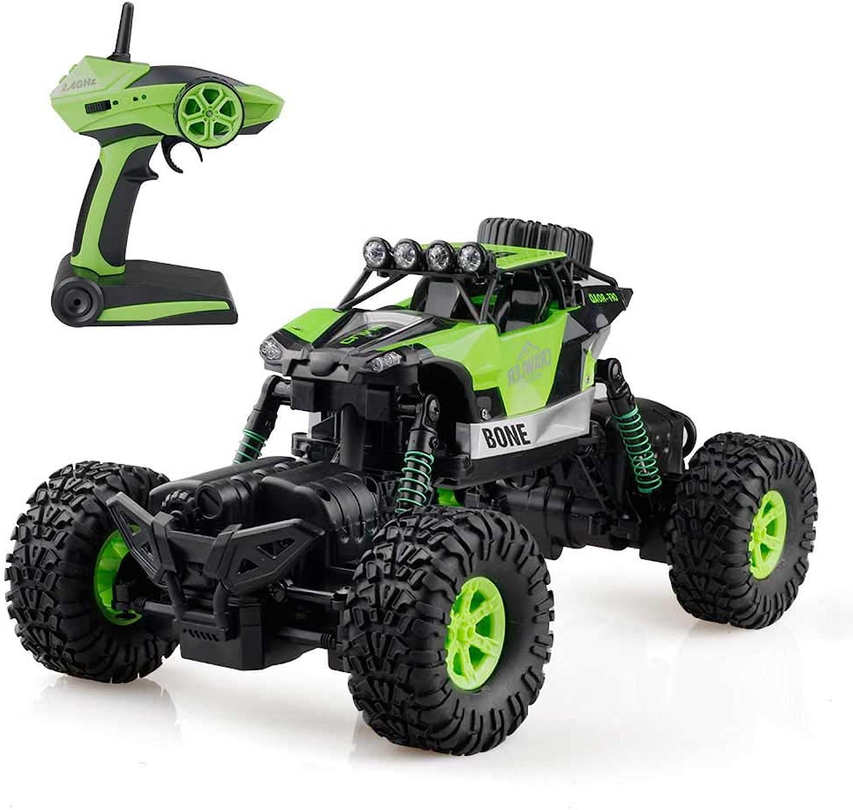 Pinjeer RC Auto 2,4G 4WD Rock Crawler Fahren Auto Doppelmotoren Fahren Bigfoot Auto Fernbedienung Auto Modell Gelndewagen Geschenke für Kinder 3+ (Farbe   Grün, Gre   2-Battery)