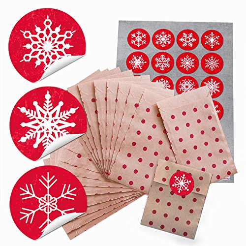 96 bruine kleine kerstmis papieren zakken rood natuur punten (9,5 x 14 cm) + 96 kerststickers sneeuwvlokken cadeauverpakking kerstcadeau give-away papieren zakje verpakken