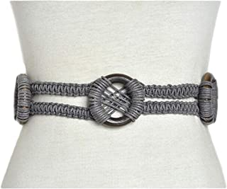 National wind decorative belt New vintage pattern handmade wax rope wood ring braided belt (Color : Gray, Size : 180CM)