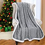 """Catalonia Grey Sherpa Throw Blanket, Super Soft Fluffy Fuzzy Comfy Velvet Plush Fleece TV Blankets and Throws for Sofa Couch Bed for Adults Child, 50""""x60"""", Melange"""