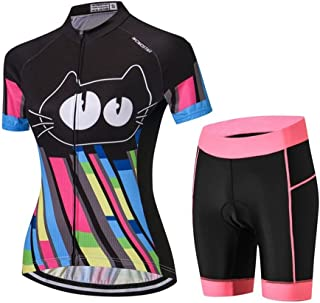 Weimostar - Traje de ciclismo para mujer (manga corta, pantalones cortos acolchados)