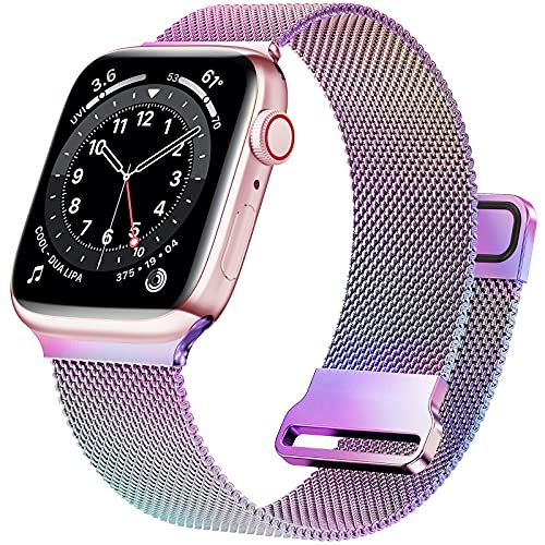 JuQBanke Magnetic Band Compatible with Apple Watch 38mm 40mm 41mm, Stainless Steel Mesh Milanese Strap with Adjustable Loop, Metal Wristband for iWatch SE Series 7 6 5 4 3 2 1 for Women Men, Colorful