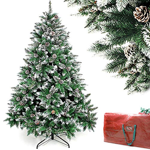 Homde Decoway Christmas Tree Artificial Full Xmas Tree with Storage Bag Flocked Snow Pine Cone (5ft)
