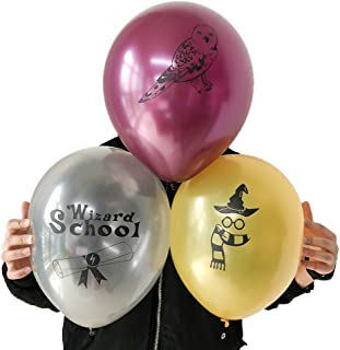 Potter Party Birthday Balloons Wizard School Decoration Supplies, 30pcs, Latex Gold, Silver, Maroon