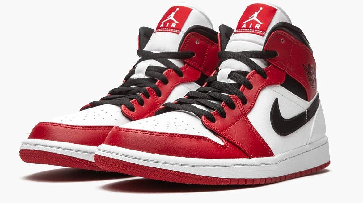 Jordan Men's Shoes Nike Air 1 Mid Chicago White/Gym Red/Black - Size 11.5