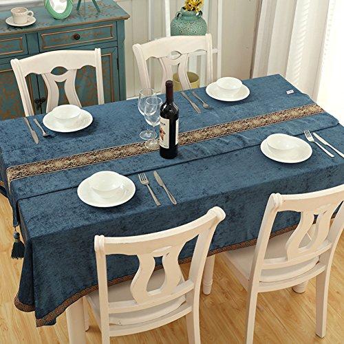 europea tovaglia rettangolare cerimonia del tè, blu stile mediterraneo tovaglia, tessuto di cotone lino piccolo Fresh buffet, cotone/lino, A, 120x120cm(47x47inch)