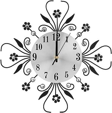 Crystal Metal Wall Clock, Diamond Decorative Wall-Mounted Clock European Modern Style Hanging Wall Clock Silence Bedroom Meta