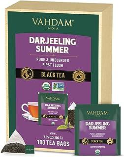VAHDAM, Bio-Darjeeling Schwarztee aus dem Himalaya 100 Teebeutel | Mittleres Koffein, Hochenergie-Tee |100% reine unvermischte Darjeeling Teebeutel aus Indien | Brau Heiß, Eis- oder Kombucha-Tee