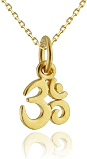 24k Gold Plated Sterling Silver Tiny Om Ohm Charm Pendant Necklace, 18 Inch