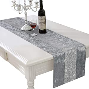 HALOViE 13 x 70 Inch Table Runner, Rectangular Coffee Dining Table Cloth Runners with Diamante Strip for Home Kitchen Party Wedding Decorations Gray