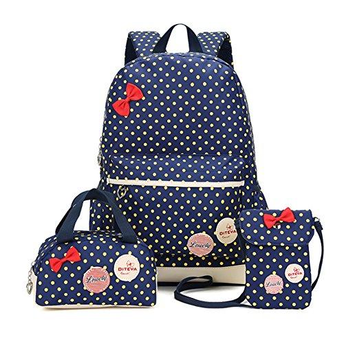 Bcony Set von 3 Nette Punkt College Schultaschen/Rucksäcke/Schulrucksäcke/Kinderbuchtasche Mädchen Teenager + Mini Handtasche + Geldbeute Umhängetasche,Navy blau + Gelb