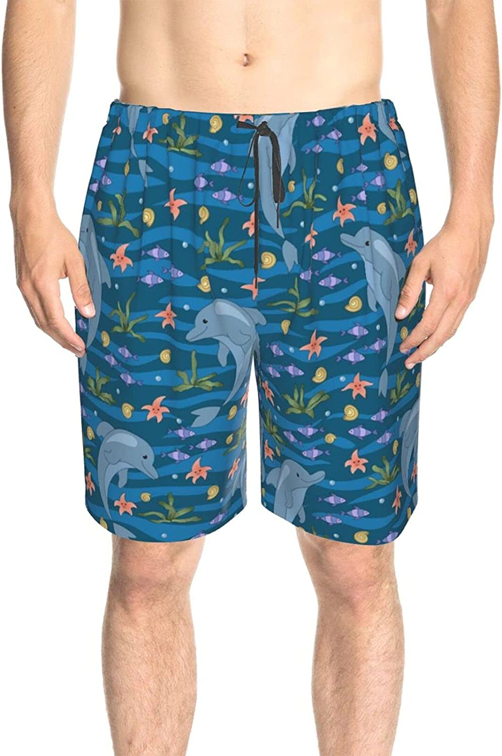 Mens Bathing Suits Cute Cartoon Dolphins Blue Water Beachwear Board Shorts Fast Dry Fashion Swimming Trunks with Pockets