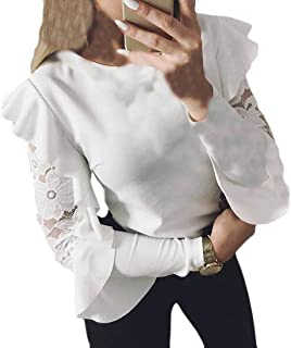 FSSE Womens Slim Fit Long Sleeve Crew Neck Lace Stitching Solid Top Blouse T-Shirt