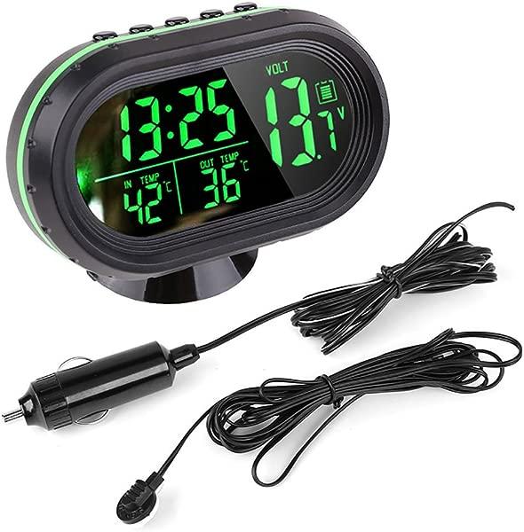 Pevor 汽车 12v 液晶发光时钟数字温度计温度计电压表报警监视器