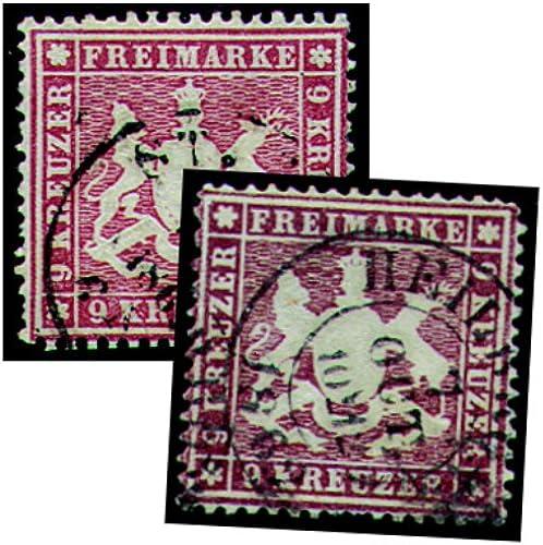 Goldhahn Württemberg Nr. 19ya + 19yb gestempelt geprüft - Briefmarken für Sammler