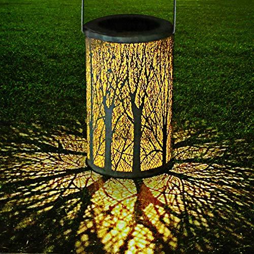 LED Solar Laterne für Draußen, GolWof Solar Garten Hängende Laterne Zylinderförmige Nachtlicht Wasserdicht IP44 mit Lichtempfindlichkeit für Veranda/ Rasen/ Hof/ Gehweg/ Auffahrt Weihnachten