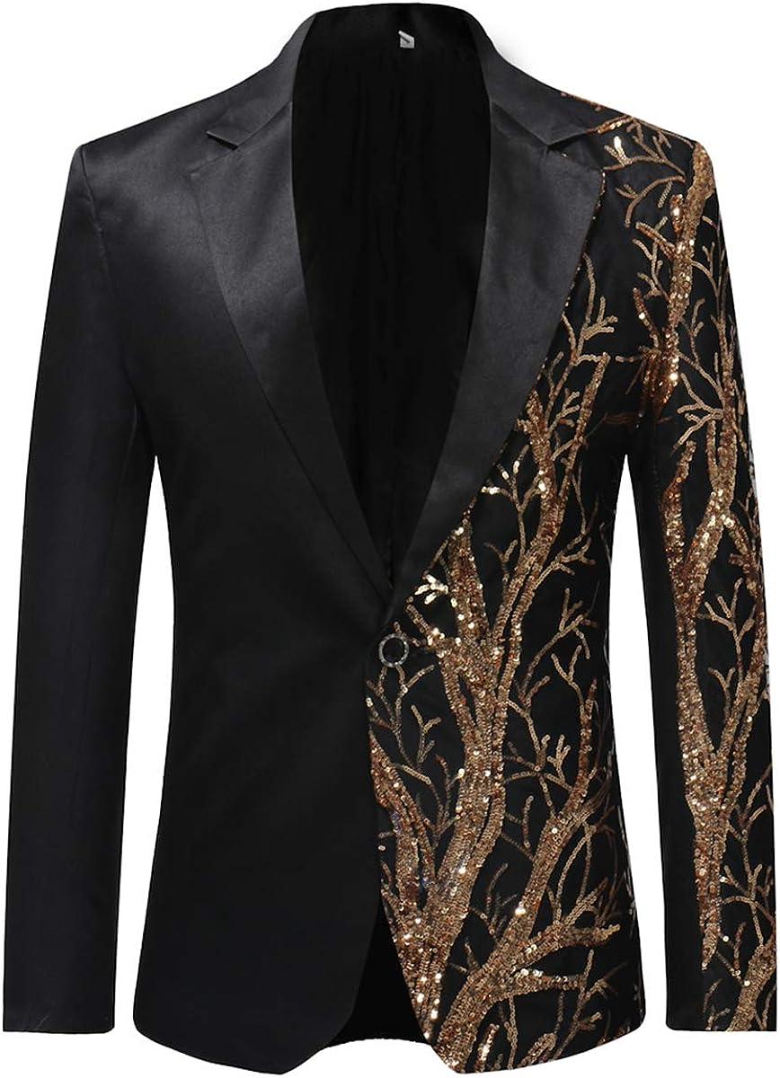 Boyland Men's Sequins Floral Suit | Notched Lapel Slim Fit Stylish Blazer