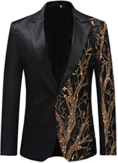Allthemen Mens Casual Blazer Slim Fit Suits Jacket Floral Printed One Button Dinner Party Wear Coats, XXL, Black
