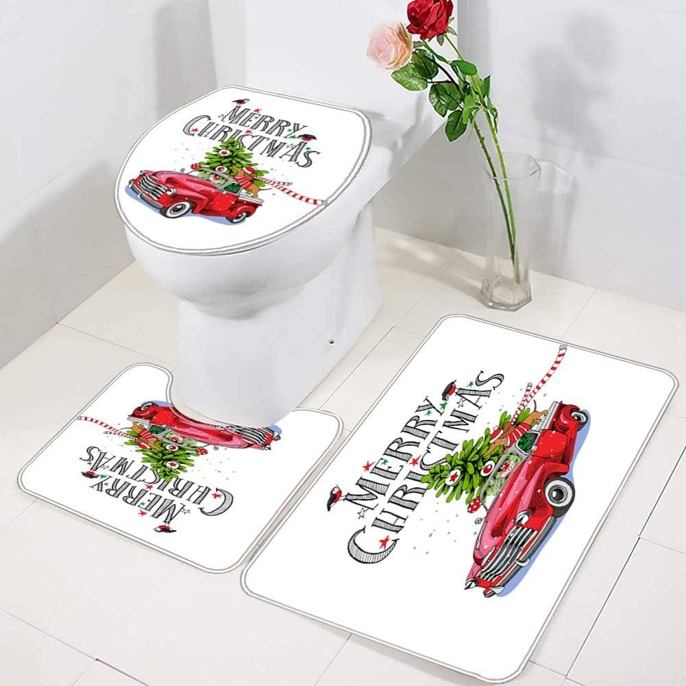 4 Pcs Xmas Shower Curtain//Non-Slip Bathroom Rugs//Lid Toilet Cover//Bath Mat MORESAVE Christmas Shower Curtain Sets Santa Claus Elk Snowman Christmas Bathroom Decor Home Holiday Decorations Gifts