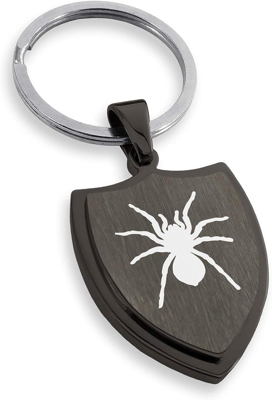 Stainless Steel Tarantula Spider Shield Keychain Keyring