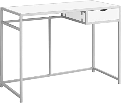 """Monarch Specialties Contemporary Laptop Table with Drawer Home & Office Computer Desk-Metal Legs, 42"""" L, White-Silver"""