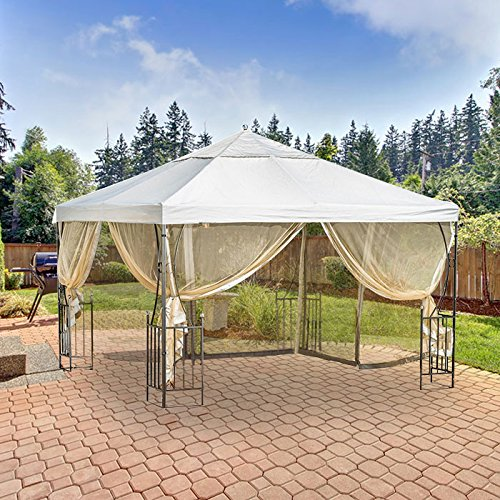 Garden Winds Salerno Gazebo Replacement Canopy Top Cover and Netting -...
