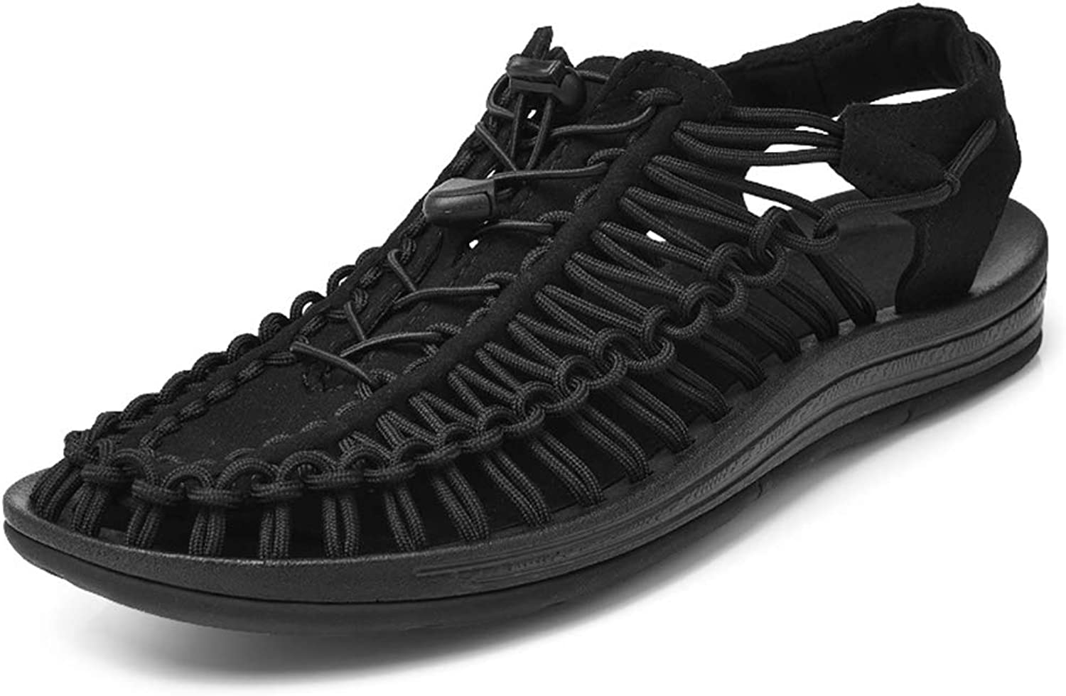 Qiusa Men Outdoor Braided Rope Sandals Hollow out Soft Sole Closed Toe Men shoes (color   Black, Size   UK 5.5)