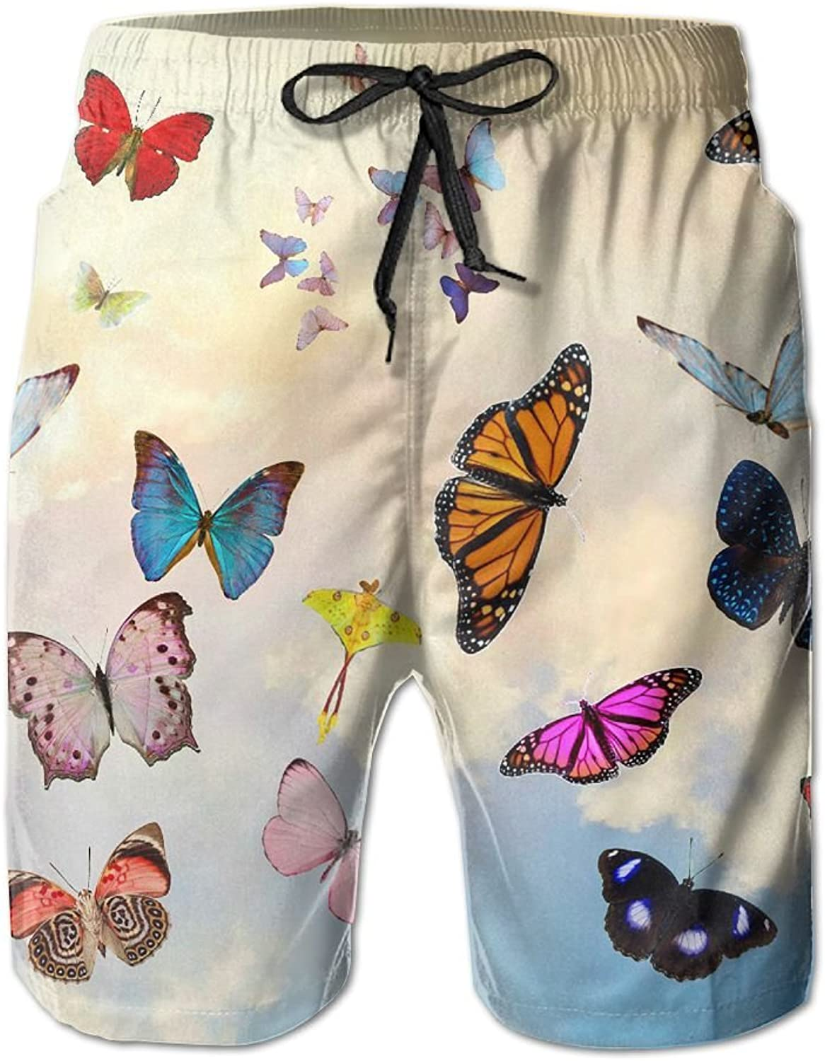 d56afe7b7e Quick Dry Beach Shorts Butterfly Sky Surfing Surfing Surfing Trunks Board  Pants With Pockets For Men fd7120