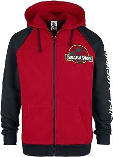 Jurassic Park Logo Classique Homme Sweat-Shirt zippé à Capuche Rouge/Noir, , Regular / Coupe Standard