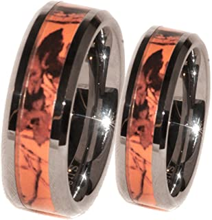 Premium Orange Camouflage Couples His and Her Ring Band Set