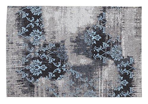 REAL ROSE Vintage Patchwork Velour Teppich in grau-blau, Größe: 40x60 cm