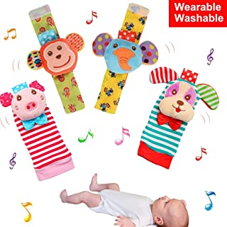 Soft Rattle for 0 Month Up Baby 4 Cute Animal Adjustable Design Wrist Rattle Foot Finder Socks No Toxic Cotton and Plush Educational Toys Birthday Present for Newborn