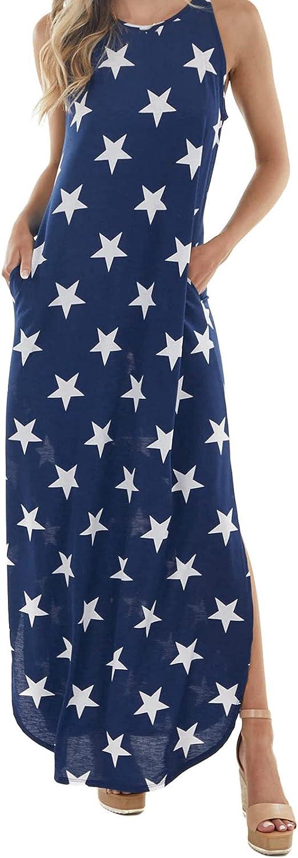 Sun Dresses Women Summer Women's Summer Printed Casual Star Print Mid-Waist Vest Long Blue Dress Womens Dresses