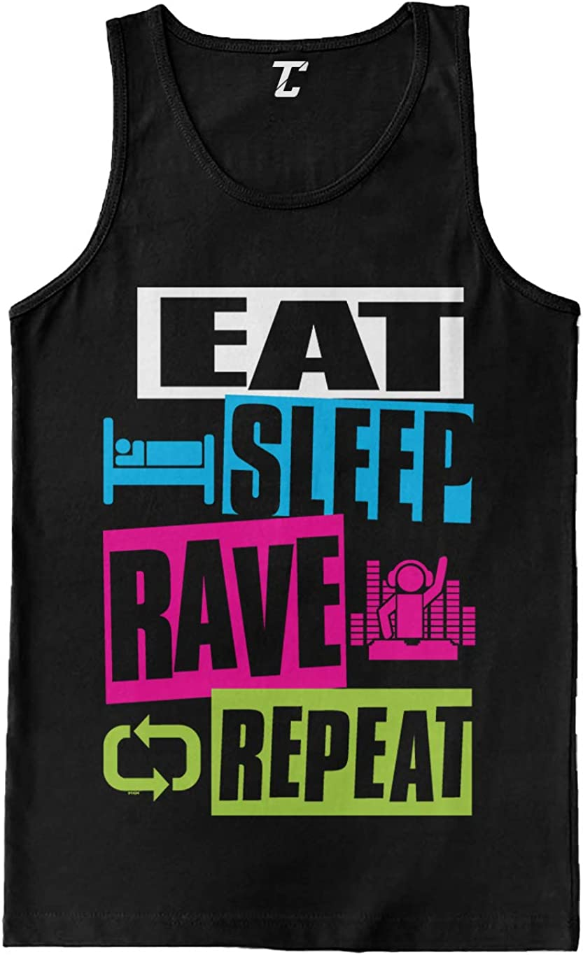 Eat Sleep Rave Repeat Max 50% OFF - Neon Club Tank Music 2021new shipping free Men's Top