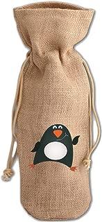 Penguin Greeting Jute Burlap Wine Drawstring Bag Wine Sack Natural