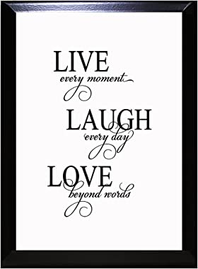 Live Every Moment Laugh Every Day Love Beyond Words Wall Plaque Sign 9 in x 12 in