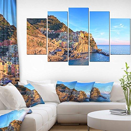 """Designart PT11387-373 Manarola Village Cinque Terre Italy-Extra Large Seashore Canvas Art (5 Piece), 60"""" x 32"""""""