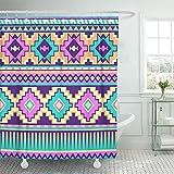 remmber me Grün Neon Pastell Multicolor Tribal Aztec Phantasie abstrakte geometrische ethnische rosa Duschvorhang wasserdicht Badezimmer Dekor Polyester Stoff Vorhang Sets mit Haken 60 x 72 Zoll