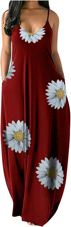 Tavorpt Dress for Women Casual, Womens Summer Sleeveless V-Neck Sunflower Pockets Long Maxi Dress Beach Sundress Party