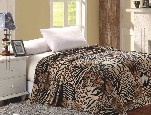 Elegant Comfort Ultra Super Soft Fleece Plush Luxury BLANKET All Sizes Full/Queen Safari