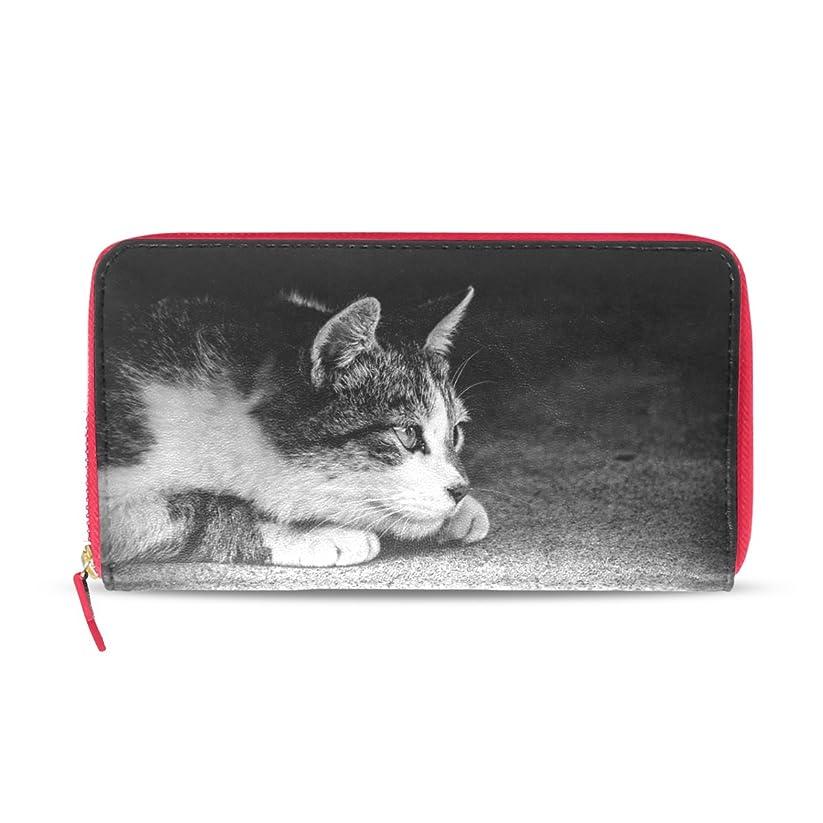 ファーザーファージュ哲学的民族主義AOMOKI 財布 レディース 長財布 猫柄 白黒 にゃんこ ねこ モノクロ ラウンドファスナー PUレザー 大容量 二つ折り 幅20*丈11cm