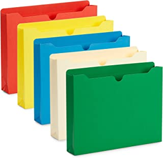 Blue Summit Supplies 2 Inch File Jackets, Reinforced Straight Cut Tab, Heavy Duty 2 Inch Expansion Pocket, Letter Size, Assorted Colors, 25 Pack