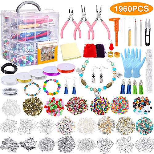 PP OPOUNT 1960 Pieces Jewelry Making Kit with Instructions, Beads, Charms, Findings, Jewelry Pliers,...