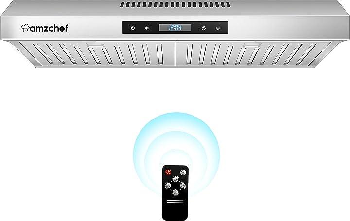 Cappa aspirante 60cm 220m³/h cappa da cucina touch/telecomando 3 livelli di potenza amzchef 3029A