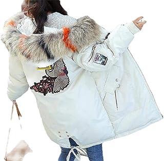 Women's Outwear Cotton-Padded Hoodie Puffer Faux Fur Collar Down Jackets